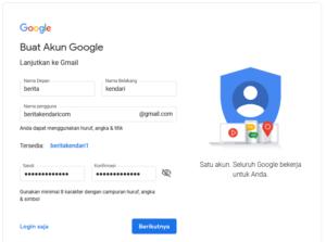 Screenshoot Cara Membuat Email di Google