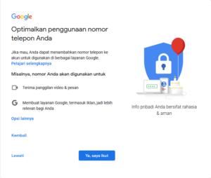 Optimalisasi Penggunaan No. Telpon, Cara membuat email gmail